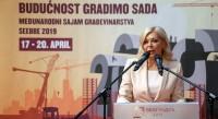 Александра Дамњановић, државни секретар у Министарству грађевинарства, саобраћаја и инфраструктуре, отворила 45. Међународни сајам грађевинарства