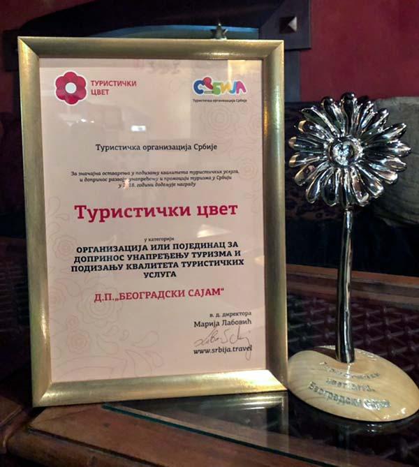 Prestižna nagrada Turistički cvet Beogradskom sajmu